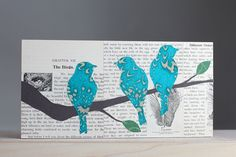 Teal Birds on a Branch Over A Book Page Background From a Vintage Natural History Text on Birds, OOAK Turquoise Bird on Branch Nursery Art