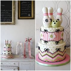 Bowling cake for girl's party ~ Bobbette & Belle ~ bowling pins ~ bowling ball