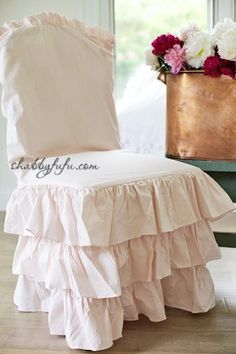 Shop Talk...Blush Pink Chair Slipcovers and More