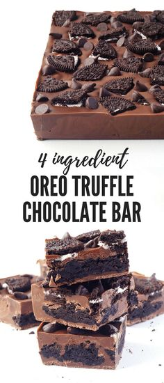 Oreo Truffle Chocolate Bar These Oreo brownies are rich, chewy and a chocolate lover's dream! Delicious layers of fudgy brownie mix and Oreo cookies baked to perfection. Mini Desserts, Oreo Desserts, Chocolate Desserts, Easy Desserts, Chocolate Chip Cookies, Delicious Desserts, Yummy Food, Oreo Cookies, Chocolate Chocolate