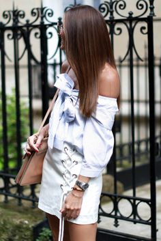 Shirt: b a r t a b a c, blogger, button up, stripes, shoulder bag, lace up, white skirt, lace up skirt, off the shoulder, striped shirt, summer outfits - Wheretoget