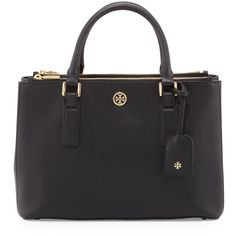 Tory Burch Robinson Mini Double-Zip Tote Bag (1,745 AED) ❤ liked on Polyvore featuring bags, handbags, tote bags, tory burch, malas, black, zippered tote bag, black zipper tote, zip tote and zip tote bag
