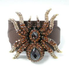 """Ever Faith 18K GP Halloween Huge 3"""" Spider Bracelet Leather Buckle Topaz Austrian Crystal Ever Faith. $21.95. Metal Base: Antiqued Gold Tone Plated. Austrian Crystal (one of the best quality crystals in the world ). Buckle Size: 22cm(8.66"""") Total Length, 15cm(5.91"""")-19cm(7.48"""") inside circumference length"""