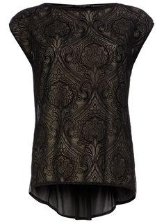 Black patterned mesh tee
