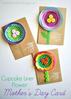 Carte cup cakes fleurs