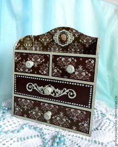 """Купить """"Ночь в Версале"""" Мини-комод для украшений, рукоделия, винтаж - коричневый, светло-бирюзовый, винтаж"""
