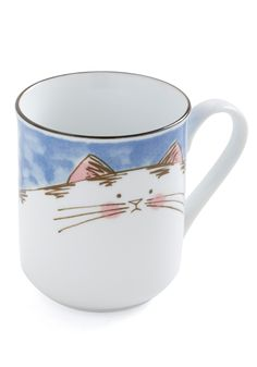Belly Cat Mug - Blue, White, Pink, Brown, Print with Animals