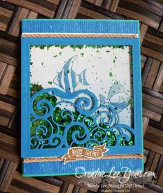 Seaside Shore Shaker by Wendy Lee, Stampin Up, Seaside Shore stamp set, Detailed Santa Thinlits, #creativeleeyours, Hand Made Cards, By the Shore DSP, Masculine - SU