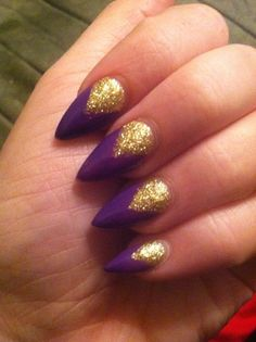 New Purple Stiletto Nail Designs. Love this, but I would do square or just oval nails. Not the pointy kind!!