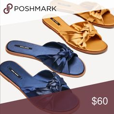 Zara gold satin bow slides flats sandals 7.5 8 NWT. Can easily fit 7.5 and 8. Fashion bloggers favorite and extremely hard to find in stores and online. Grab yours while you can. I will be able to ship the sandals on Wednesday. Bundle and save. Zara Shoes Sandals