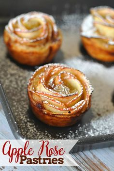 Absolutely stunning Apple Rose Pastries - A few simple steps will give you a special treat everyone will think you spent hours in the kitchen making! {The Love Nerds} Holiday Desserts, Easy Desserts, Delicious Desserts, Dessert Recipes, Yummy Food, Apple Rose Pastry, Apple Roses, Apple Recipes, Sweet Recipes
