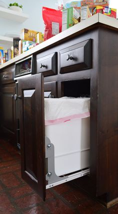 Taking The Trash Out Young House Love LOVE this idea of hiding and making practical function out of trash ANDOR recyclable Would love to install in one of our cabinets Kitchen Redo, Kitchen Remodel, Kitchen Design, Kitchen Ideas, Kitchen Inspiration, Island Kitchen, Kitchen Time, Room Kitchen, Trash Can Cabinet