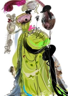 Christian Lacroix - costume design sketch for NY City Opera