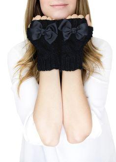 Knitting Patterns Gloves BLACK CUFF MITTENS, fingerless knit gloves with bow, black knit gloves, knit bow gloves, wool Fingerless Gloves Knitted, Crochet Gloves, Knit Mittens, Estilo Lolita, Black Knit, Lolita Fashion, Cute Outfits, Fashion Outfits, My Style
