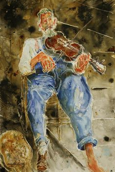 Fiddle Painting - Fiddler With One Shoe by Shirley Sykes Bracken