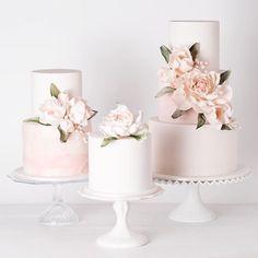 trio of blush pink wedding cakes ~  we ❤ this! moncheribridals.com