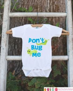 Funny Baby Boy Outfit - Novelty Baby Shower Gift - Humerous Don't Bug Me Baby Onepiece - Blue and Green Bugs Bodysuit - Funny Kids Shirt