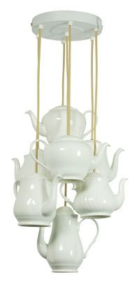 Teapot Pendant - 7 Bone China tea pots (H max. 2 meters) White by Original BTC - Design furniture and decoration with Made in Design