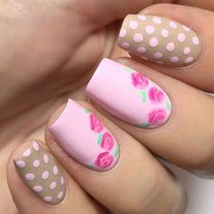 Pink Floral Nail Art With Polka Dots