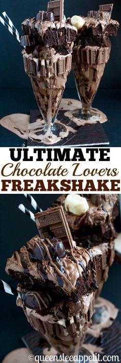Chocolate Lovers, welcome! This is the chocolatiest, chocolatey, chocolate milkshake of all time. Oops, did I say milkshake? I meant FREAKSHAKE! Warning: this recipe is not for the faint of heart. Yummy Drinks, Delicious Desserts, Yummy Food, Tasty, Starbucks Recipes, Coffee Recipes, Milkshake Recipes, Smoothie Recipes, Protein Smoothies