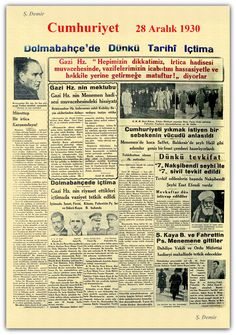 Menemen olayları cumhuriyet gazetesi 28.12.1930 Newspaper Headlines, Old Newspaper, Turkey History, Olay, Divorce, Infographic, Nostalgia, Politics, Ads