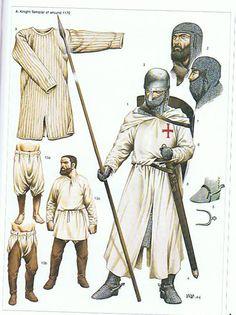 Een ridder in de orde van de Tempeliers. Dit is te zien aan zijn witte wapenkleed. Dit model wapenkleed, een kappa, was omstreeks 1200 een populair kledingstuk voor over je maliënkolder, maar deze is later in verval geraakt (vervangen door het wapenkleed/tabbard) omdat hij te onpraktisch was.