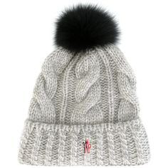 Moncler Grenoble cable knit pompom beanie ($235) ❤ liked on Polyvore featuring accessories,