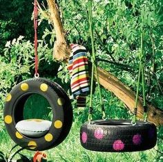 Tire swing  Provided you have a tall tree, you can turn your backyard into an amusement park with relatively little effort. Gather together some simple hardware, a rope or chain, and a tire that needs recycling. Make the swing even more fun by painting colorful polka dots on the tire.