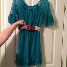 Jodi Kristopher Dillard's dress Size small. Aqua lace Dillard's dress with belt. Jodi Kristopher brand.  Only worn once for pictures. So like brand new. Perfect condition. Really cute. Smoke free home. Jodi Kristopher Dresses