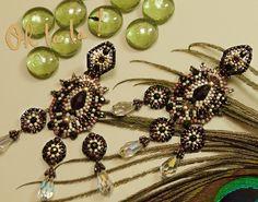 Swarovski and Sterling Silver Swarovski Crystal Earrings Beaded by Esther Marker