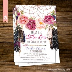 Hey, I found this really awesome Etsy listing at https://www.etsy.com/listing/268604125/boho-chic-first-birthday-invitation