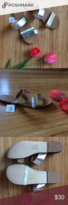 NWT J. Crew sandals silver bands flats Size 8 NWT J. Crew silver band sandals. Man made materials. Size 8 J. Crew Shoes Sandals