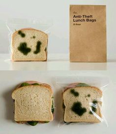 Anti-Theft Lunch Bags Make Your Sandwich Look Moldy./Sorry, this is too funny, the only time our family had a sandwich stolen, was by a seagull! Graffiti Designs, Sac Lunch, Lunch Bags, Sandwich Bags, Sandwiches, Bologna Sandwich, Buzzfeed Food, Packaging Design, Packaging Ideas