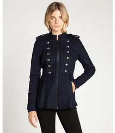 BCBGeneration navy wool blend double breasted zip front flared military jacket on shopstyle.com