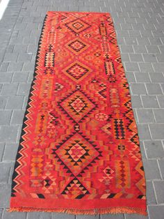 Bedouin Palestinian runner kilim rug carpet hand made 237x90-cm/93.3x35.4-inches