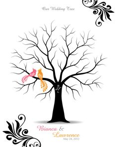 Thumbprint Wedding Tree Guest Book Poster with Ink by TJLovePrints