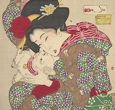 Ukiyo-e woodblock print named 'Teasing the Cat' by artist Tsukioka Yoshitoshi. Circa 1888, Japan.