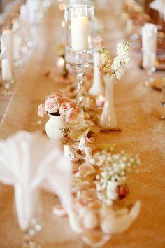 Table setting, wedding, elegant, vintage, blush and gold  333 Designs, LLC www.333design.com Photography: Simply Bloom Photography - simplybloomphotography.com  Read More: http://www.stylemepretty.com/2014/09/04/romantic-alabama-wedding-at-the-hampton-cove-wedding-plantation/