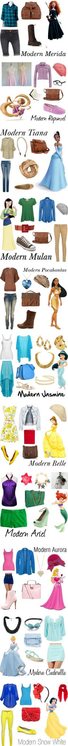 Modern Disney princesses - I like the looks for Merida, Tiana and Mulan the most. Disney Themed Outfits, Disney Bound Outfits, Princess Outfits, Disney Dresses, Princess Style, Princess Fashion, Modern Princess, Disney Clothes, Outfits Niños
