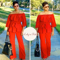 Lady in Red! Starting my California Fall Pieces with some RED HOT Off the Shoulder LOVE!