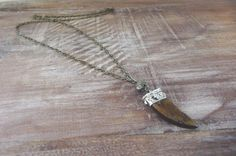 Women's Pyrite Gemstone and African Wood Pendant Long Boho Necklace by IsabellaRaeJewelry, $30.00