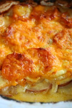 "I am going to share this recipe because I used to hate scalloped potatoes before I found this.   Cut 6-8 large potatoes in round slices and place in a pot of salted water to boil, cook for just a few minutes (until slightly tender ""el dente"") Drain and set aside. In the same pot, place a 1/4 cup butter and melt on med/high heat, stir in 3-4 tablespoons flour and 1 tablespoon pepper, stir until smooth. Add 3 cups milk, 1 tsp cayenne (if you like spice) and 1 - 1 1/2 cups Cheese Whiz…"