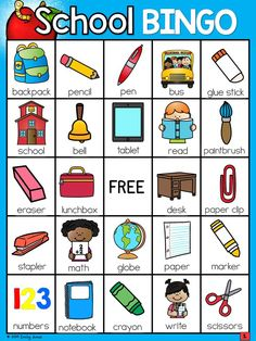 Back to School Bingo with school supplies and school vocabulary. English Activities For Kids, Learning English For Kids, First Day Of School Activities, English Worksheets For Kids, English Lessons For Kids, French Lessons, Spanish Lessons, Preschool Learning, Teaching Kids