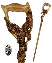 Hunting Eagle & Fish Artisan Intricate Hand-Carved Cane