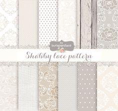 "❤ Digital paper: Shabby lace pattern, digital paper pack, lace, ivory lace, lace, wedding digital paper, lace pattern ❤ 14 piece paper Shabby digital paper high quality 300 dpi 12"" x 12"""