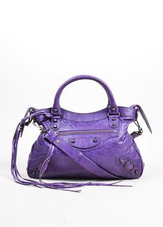 "Ultraviolet Purple Balenciaga Leather ""Classic Town"" Two-Way Moto Bag"