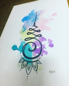 Watercolour unalome by Wendy McAninch