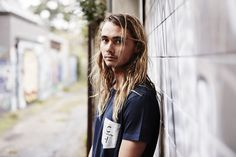 Pama in Navy Notts Pocket Tee. #pamadavies #surfer #bondi #menswear #tee #clothing #street