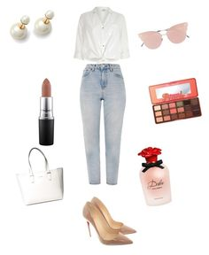 """White outfit"" by davidmihaela on Polyvore featuring River Island, Topshop, Christian Louboutin, So.Ya, Too Faced Cosmetics, MAC Cosmetics, Dolce&Gabbana and GUESS"