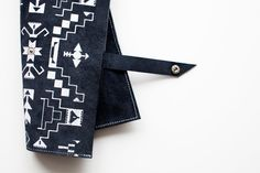 Tribal Pattern Leather Suede Navy Blue with White No. LP-101. $56.00, via Etsy.